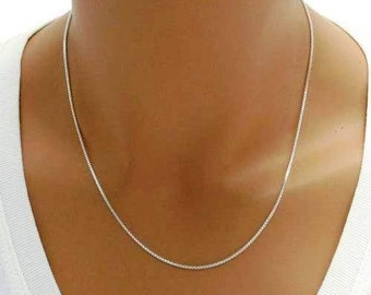 "925 Sterling Silver Box Chain - 019 Gauge 1.0 mm - 16""/18""/20""/22"""