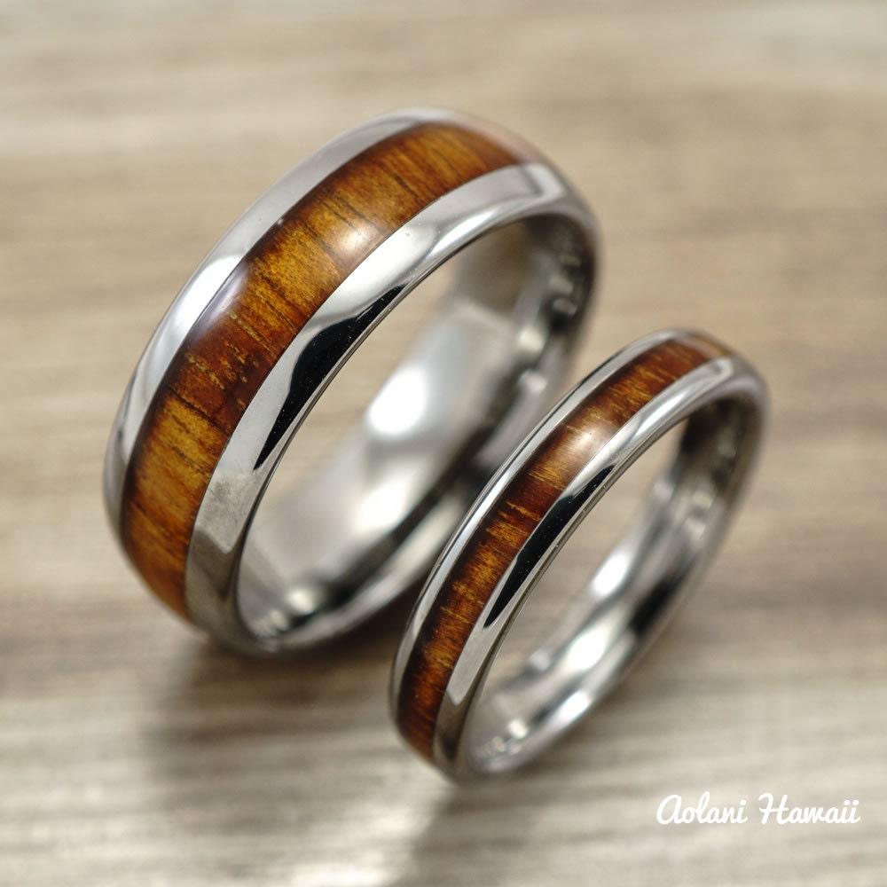 Wedding Band Set of Tungsten Rings with Hawaiian by AolaniHawaii