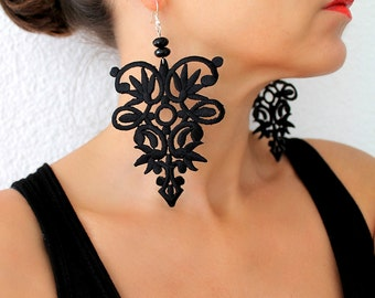 Lace Earrings, Dangle, Statement Earrings, Lace Jewelry, Black Boho Earrings