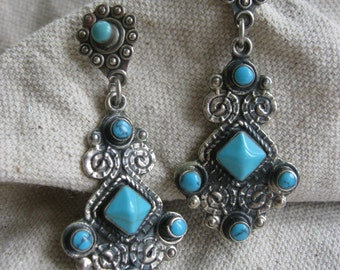 """Vtg OLD PAWN Antique Sterling Turquoise Taxco Earrings """"Carmelita"""""""