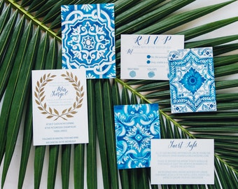 Santorini - Custom Watercolour, Mediterranean themed Wedding invitations, with matching envelope