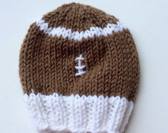 knitted football hat - football cap - knitted baby hat - football hat - knitted sports hat - newborn football hat