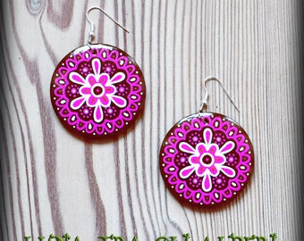Mandala earrings pink and Brown