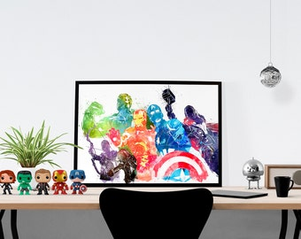 Marvel Avengers Watercolor Poster Print Captain America, Iron man, Thor, Hulk, Black Widow, Hawkeye