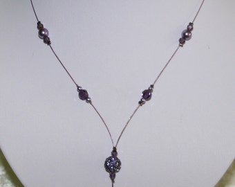 Purple bridal necklace