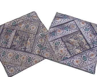 Indian Throw Pillows - Beautiful Handmade Zari Vintage Fabric 2 Decorative Cushion Cases - NH11594