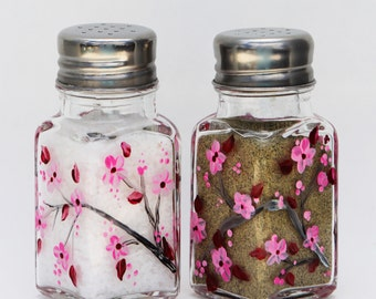 hand painted salt and pepper cherry blossoms