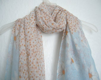 Pale Blue Chrysanthemum Scarf, Flower Scarf, Spring Scarf, Summer Scarf, Gift For Her