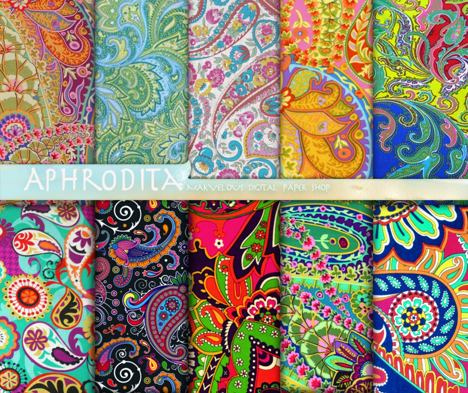 Scrapbook paper collage - Paisley