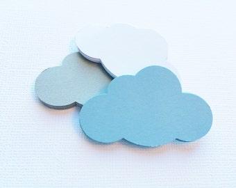"30 Cloud Paper Die Cuts, Punches - Powder Blue, Grey, White - 2"""