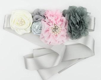 Gray Floral Sash, Maternity Sash, Bridal sash, Photo prop, Pink, Ivory and Gray sash, Ready to ship