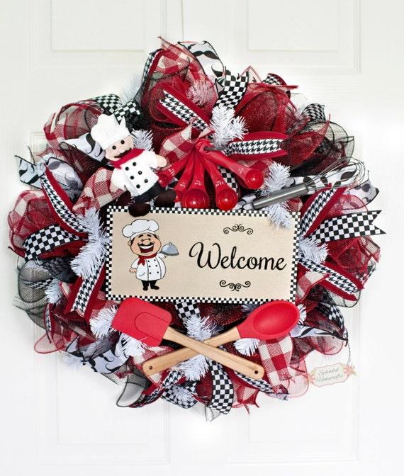 24 Chef Welcome Deco Mesh Wreath Chef Wreath Welcome Wreath Everyday Mesh
