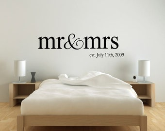 Personalized Name Mr & Mrs Wedding Wall Decal Sticker