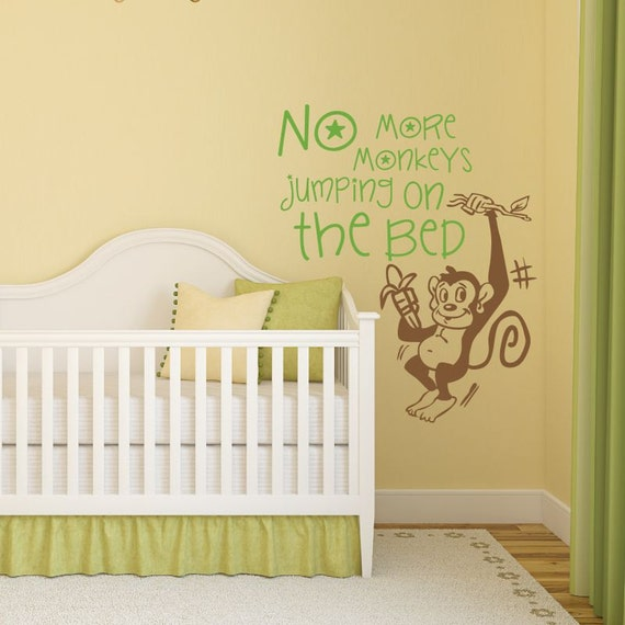 no more monkeys jumping on the bed decal kids decal boys. Black Bedroom Furniture Sets. Home Design Ideas