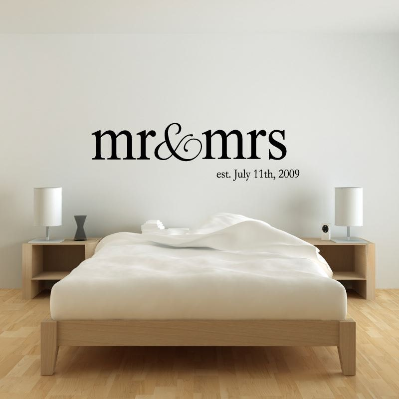 Personalized Name Mr Mrs Wedding Wall Decal Sticker