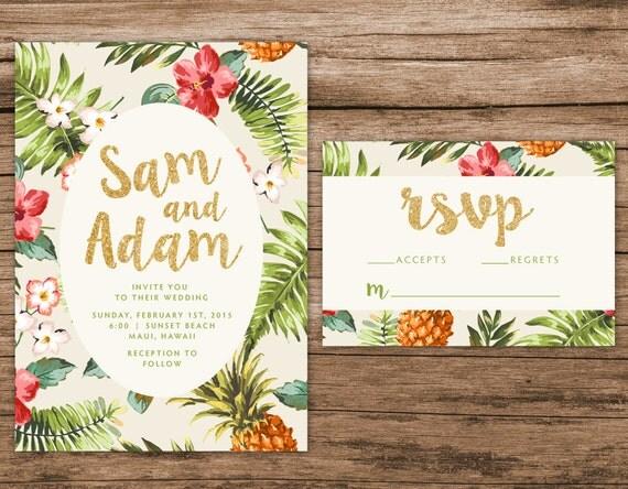 Destination Wedding Invitations Etsy: Tropical Wedding Invitation Destination By AlexaNelsonPrints