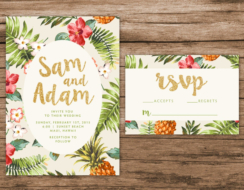 Tropical wedding invitation destination by alexanelsonprints for Tropical wedding invitations