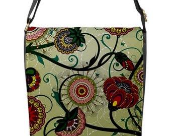 Designer Messenger Handbag satchel bag Vintage Flowers tulips and dandelions vines Removable interchangeable Flap cover red green