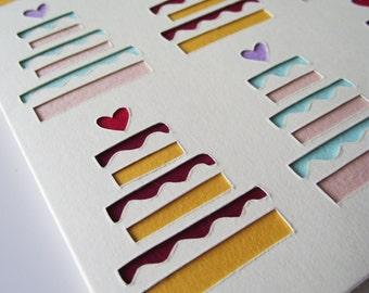A6 Hand-Cut Wedding Cake Greetings Card