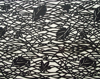 Framed Hand-cut Geometric Autumnal Leaf Papercut
