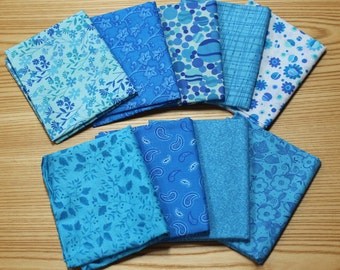 Pack of 9 Fat Quarters- Turquoise Blues