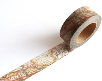 Map Washi Tape/ Vintage Map Planner/ Travel Scrapbooking Deco Tape