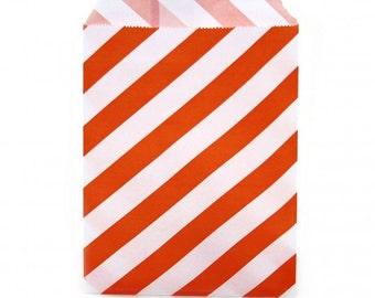 "Orange 5"" x 7"" StripedFavor Bags"