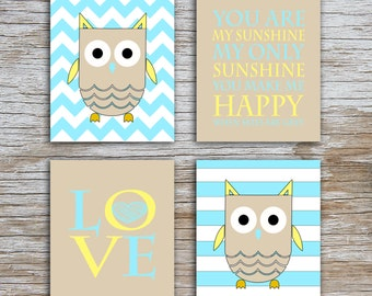 Kids (D) - You Are  My Sunshine - Owl - Beige Yellow Baby Blue - 4 Parts