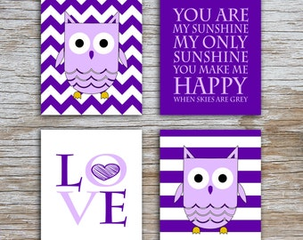 Kids (D) - You Are  My Sunshine - Owl - Purple - 4 Parts