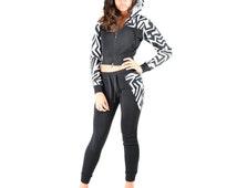 Zig Zag Printed Fleece Jogger Sweat suits Set