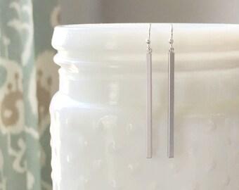 SLOANE | Silver Bar Earrings | Skinny Bar Earrings | Sterling Silver Stick Earrings | Long Bar Earrings | Dangle Bar Earrings | Minimal