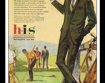 "Vintage Print Ad May 1962 : HIS Sportswear Summer Suit Illustration Golf Fashion Clothing Wall Art Decor 8.5"" x 11"" Advertisement"