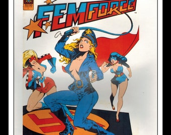 "Vintage Print Ad Comic Book Cover : Fem Force #1 / Adventures Of Super Pickle Illustration Dbl Sided Wall Art Decor 8"" x 10 3/4"""