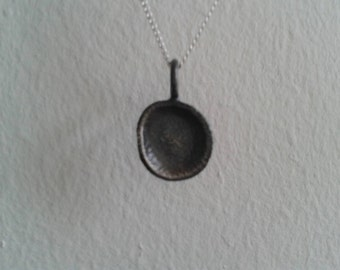 Sterling Silver necklace, handmade Sterling Silver necklace, black necklace, moon necklace, black silver moon necklace