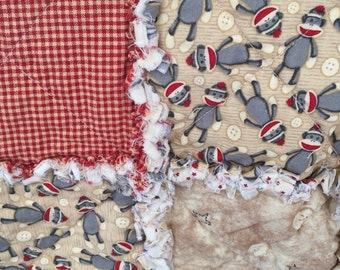 Sock Monkey Baby Rag Quilt 100% Cotton