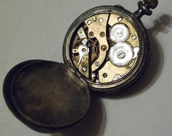Antique pocket watch Remontoir Cylindre 10 Rubis in 875 Silver, art nouveau watch 1920s, non functional collectible watch