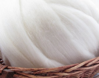 Blue Face Leicester Wool Top Roving - Undyed Spinning & Felting Fiber / 1oz