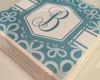 Monogrammed tile coaster- teal and white monogram coaster would be perfect for wedding, birthday or bridesmaid gifts or special occassions