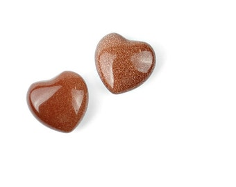 Mini Goldstone Carved Heart Stone | 1 piece