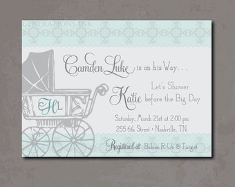 Vintage Baby Boy Shower Invitation, Vintage Baby shower, carriage, boy baby shower, blue and gray/Wording can be changed