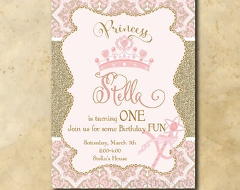 Princess Birthday Invitation / digital file / printable / wording and age can be changed/gold, glitter, pink, crown, first