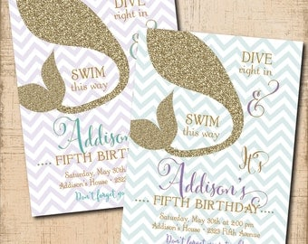 Mermaid Birthday Invitation printable/Digital File/under the sea invitation, swim party, pool party, purple and teal/Wording can be changed