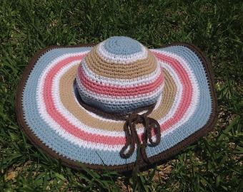 Crochet Summer Hat, Sun Hat, Cotton Floppy Brim Hat