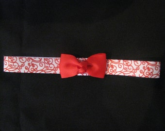 baby headband red swirl print with red bow