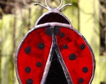 Stained glass ladybird suncatcher