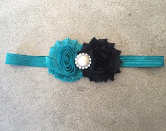 Black and Teal Shabby Chic Flower Headband, Flower headband, baby headband, headbands, newborn, toddler headbands, baby girl headbands, styl