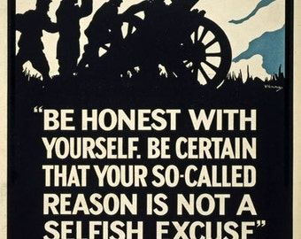 WA11 Vintage WWI British Selfish Excuse Not To Enlist World War 1 Poster Re-Print Wall Decor A1/A2/A3/A4