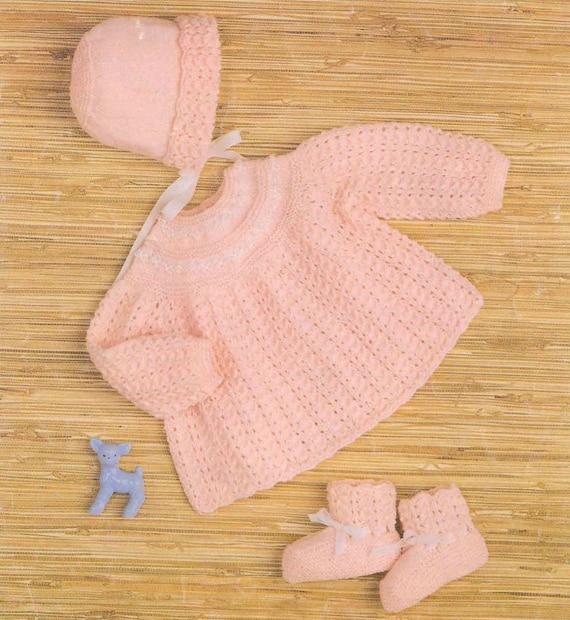 Knit Baby Dress Booties Bonnet Vintage Pattern jumper knitting