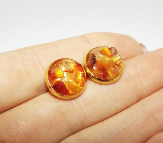 Semi Precious Gemstone Raw Stone : Red agate stud earrings semi precious stone jewelry