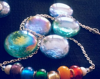 Lampwork bead necklace lampwork and clay necklace